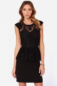 Take a breather, and let the world cater to your every whim in the Table for Two Black Lace Peplum Dress! A sheer lace decolletage tops this little black dress and its sweetheart bodice to bring a flirty touch to the cap sleeves and rounded neckline. Lace ends below the waistline as a cute peplum with eyelash lace above the sheath skirt. Hidden back zipper/clasp closure. Dress is fully lined. Model is 5'9' and wearing a size X-Small. Self: 100% Polyester. Contrast: 80% Cotton, 20% Nylon…