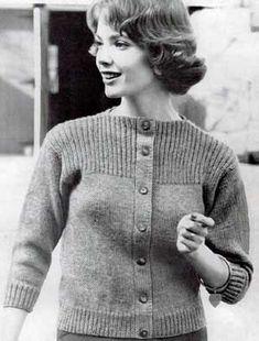 Cardigan Sweater V, Sizes 10, 12, 14 and 16, No. 8 | Free Knitting Patterns