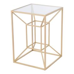 Gold Contemporary End Table - Canyon | RC Willey Furniture Store Contemporary End Tables, Modern Side Table, End Tables For Sale, Metal Accent Table, Geometric Sculpture, Glass End Tables, Table Dimensions, Gold Glass, Table Furniture