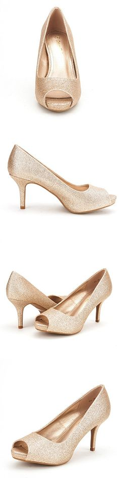 DREAM PAIRS OL Women's Elegant Open Toe Classic Low Heel Wedding Party Platform Pumps Shoes GOLD GLITTER SIZE 11