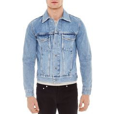 Sandro Snap Jacket (£275) ❤ liked on Polyvore featuring men's fashion, men's clothing, men's outerwear, men's jackets, blue vintage, mens utility jacket, mens blue jean jackets, mens vintage denim jacket, mens blue jacket and mens vintage jean jacket
