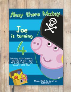Pirate George Peppa Pig Birthday Party Invitation by FlurgDesigns, £5.00