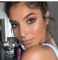 Natural glowing skin,makeup,nude lips