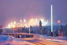 """15 tykkäystä, 2 kommenttia - Tehomet - A Valmont Company (@tehomet) Instagramissa: """"Project in Ruka, Finland with hybrid light stick poles (combination of steel and composite). .…"""""""