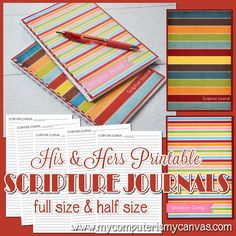 His & Hers PRINTABLE Scripture Journal, Notes, Notebook by #mycomputerismycanvas