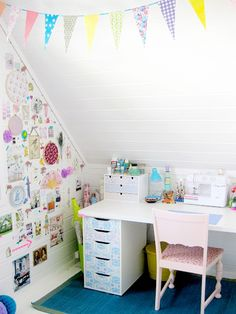 Vintage wallpaper furniture and inspiration wall and paper bunting - - Click…