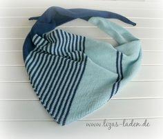 Gestricktes Schultertuch in den Farben Aqua und Petrolblau aus 100 % Cotton Design Liza