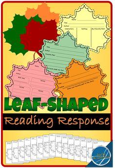 Leaf-Shaped Reading Response Sheets #fallactivities #bulletinboard #readingresponse #teacherspayteachers