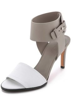 Grey and white leather high heels - on sale