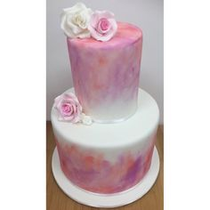 Water Coloured petal dust, blended together! Any occasion cake! Pretty pink and peachy colours