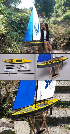 RC Sailboat-Phantom  With its huge sail bright colours and carbon fibre effect hull, this is a very striking and fast R/C Yacht.  All required items are installed, including mainsail winch, steering servo and all rigging, sail and hardware. All you need to do is add your own receiver and battery!
