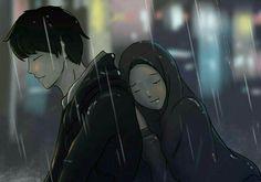 Cute Couple Art, Anime Love Couple, Couple Cartoon, Girl Cartoon, Couple Goals Tumblr, Islam Marriage, Cute Muslim Couples, Islamic Cartoon, Hijab Cartoon