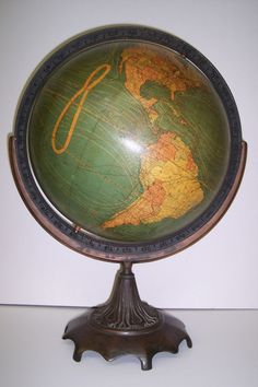 12 inch Terrestrial Globe Weber Costello Co. manufacturers, Globe Maker: W. & A.K. Johnston, Limited; Cartographer: W. & A.K. Johnston, Limited (Published: W. & A.K. Johnston, Limited 1926-1919 ca. Chicago Heights, Il.)