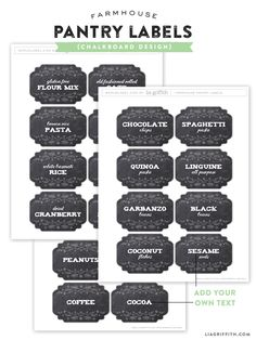 Free Farmhouse Pantry Label Printables by @lia griffith Both Chalkboard and Kraft design available. Enjoy :)
