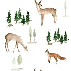 Fox and Deer Fabric by the Yard. Quilt Cotton, Knit, Jersey, Minky. Watercolor Woodland Fabric, Nursery, Baby, Forest, Trees, Gender Nutral Deer Fabric, Woodland Fabric, Blue Moose, Kona Cotton, White Fabrics, Vibrant Colors, Cotton Fabric, Quilts, Knitting