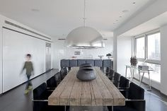 :: INTERIORS :: love the old wood table layered with the simple monochromatic interior #interiors