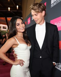 Vanessa Hudgens and Austin Butler arrive on T-Mobile's magenta carpet duirng the Showtime, WME IME and Mayweather Promotions VIP Pre-Fight Party for Mayweather vs. McGregor at T-Mobile Arena on August 26, 2017 in Las Vegas, Nevada.