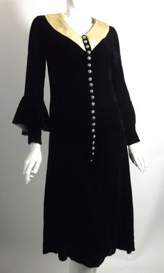 1930s black velvet dress with rhinestone buttons and ivory silk collar