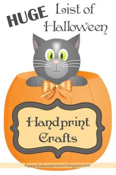TONS of ideas for Halloween handprint art plus ideas for Halloween footprint crafts and thumbprint crafts.