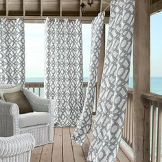 The Marin Indoor/Outdoor window panels, adorned with a contemporary ironwork design on a refreshing white ground, offers the perfect pop of color and fun to your patio or gazebo. It will also weather Grommet Curtains, Drapes Curtains, Balcony Curtains, Unique Curtains, Bamboo Curtains, Casual Decor, Outdoor Curtains, Window Panels, Curtain Panels