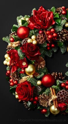 An opulent collection of luxury Christmas door wreaths beautifully designed to o. - Wreath's,I want. Christmas Door Wreaths, Christmas Flowers, Holiday Wreaths, Simple Christmas, Beautiful Christmas, Christmas Holidays, Christmas Crafts, Christmas Ornaments, Christmas Wreath Decorations
