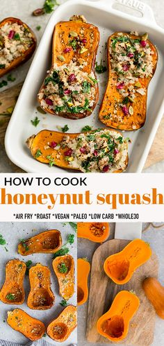 Learn How To Cook Honeynut Squash in the Oven, Air Fryer or the Microwave. Includes tips and tricks on how to cut honeynut squash and the best way to cook until tender for the perfect healthy side dish for fall and you can make this delicious stuffed honeynut squash for the holidays. Vegan, paleo, low carb and Whole30 friendly. #honeynutsquash #sidedish #fall