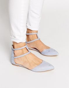 ASOS LOWER Pointed Double Strap Ballet Flats | Flats