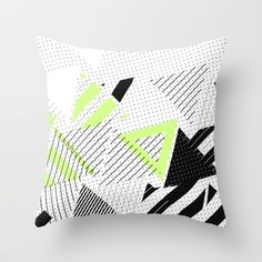 Triangle Theory, No.5 in Black & Lime Throw Pillow
