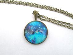 Galaxy Blue Space Nebula Necklace   Pendant jewelry by StylesBiju, $17.90