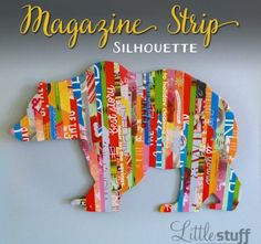 Magazine strip silhouette of grizzly bear: Easy DIY Wall Art.me Magazine strip silhouette of grizzly bear: Easy DIY Wall Art. Collage Simple, Simple Wall Art, Diy Wall Art, Collage Magazine, Magazine Art, Stuff Magazine, L'art Adolescent, Art Du Collage, Wall Collage