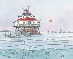 Chesapeake Bay Lighthouse Illustration Print 8x10 by studiotuesday, $30.00