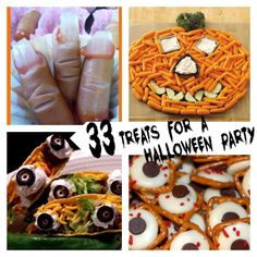 33 creepy treats for a Halloween party! (via @thecraftblog ) -Digging on this because I could actually do the pumpkin! And it's healthy! I'm not a crafty girl, so if I know I can do it, you KNOW it's easy!