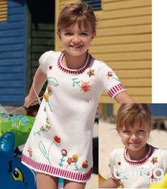 Платье с вышивкой для девочки - схема вязания спицами. Вяжем Платья на Verena.ru