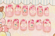 3D nails, Japanese nail art, eyeballs, bows, creepy, pastel, kawaii, pink set. $21.00, via Etsy.
