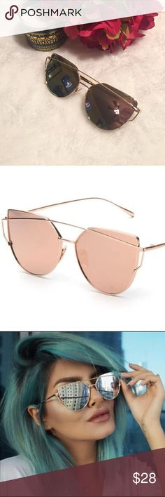 "ONLY 2✨Gorgeous Cat Eye Sunnies ✨ These gorgeous cat eye glasses are a summer must have! This listing is for the rose gold glasses. Gold frame and rose gold mirrored lenses. ⭐️Comes with glasses bag and cleaning cloth    (If ""applicable""this item includes sales tax  to the nearest mil') Accessories Glasses"
