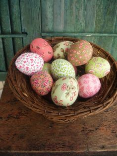 My Easter eggs in pinks and greens. Decoupage fabric or paper to plastic eggs?
