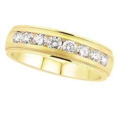 14K Yellow Gold Men's Diamond Wedding Band.    http://www.thediamondstore.com/products/men's-wedding-rings/14k-yellow-gold-mens-diamond-wedding-band-%7C-ash38483m/7-749