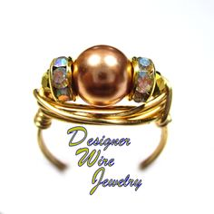DWJ0655 Stunning Rose Gold Swarovski Pearl Gold Wire Wrap Ring All Sizes