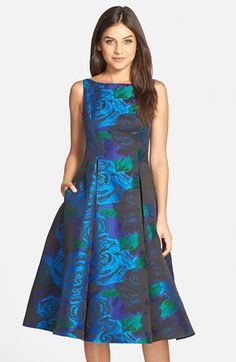 Adrianna Papell Jacquard Tea Length Fit & Flare Dress available at I love this. Wish it was long Fit N Flare Dress, Fit And Flare, Tea Length, Mob Dresses, Adrianna Papell, Feminine Style, Nordstrom Dresses, Special Occasion Dresses, Party Dress