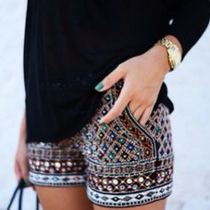 i like the idea of beaded shorts with the long black blouse, but maybe different colors?