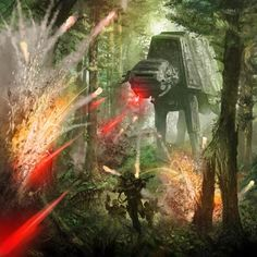 Rebel troopers fleeing an AT-AT by Ryan Barger