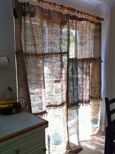 Girl Meets Globe: No Sew Coffee Sack Curtains
