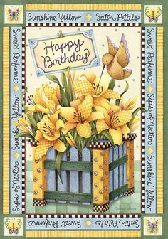 Floral birthday in yellow                                                                                                                                                                                 Mais
