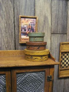 RESERVED Dollhouse Miniature 3 Hat Boxes Country Primitive