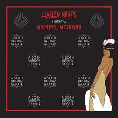 Harlem Nights 8' X 8' BANNER/BACKDROP Football Baby Shower, Baby Boy Shower, Harlem Nights Theme, Cigar Party, Banner Backdrop, Stars At Night, Bridal Shower Invitations, Backdrops, Prints