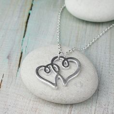 Silver plated necklace with double hearts in matt finish Purple Zebra, Washer Necklace, Pendant Necklace, Silver Plate, Hearts, Pendants, Sterling Silver, Stone, Gifts