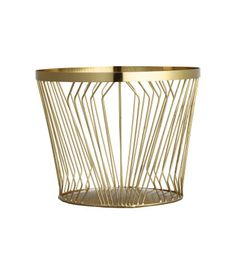 Small basket in metal wire with a lightly brushed finish. Height 6 3/4 in., diameter at top 8 1/4 in.