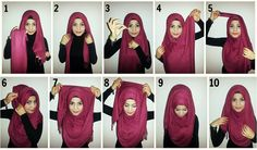 Hijab with folds and chest coverage