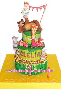 Masha and Bear - Cake by Bear Birthday, Girl Birthday, Cake Cookies, Cupcake Cakes, Cupcakes, Masha Cake, Masha And The Bear, Character Cakes, Disney Cakes
