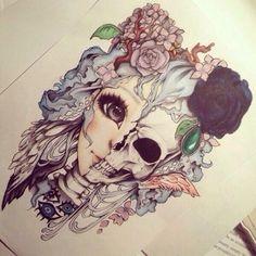 рисунок, цветы, девушка, череп